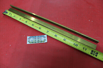 "2 Pieces 1/8""x 1/2"" C360 BRASS FLAT BAR 12"" long Solid Plate Mill Stock H02 .125"