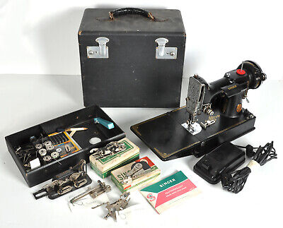 Vtg 1940 Singer Featherweight Sewing Machine w/ Case Buttonholer Accessories