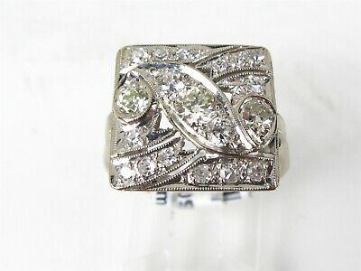 Antique Art Deco 14k White Gold Natural 1.00ctw Diamond Ladies Ring 4.4g eb4095