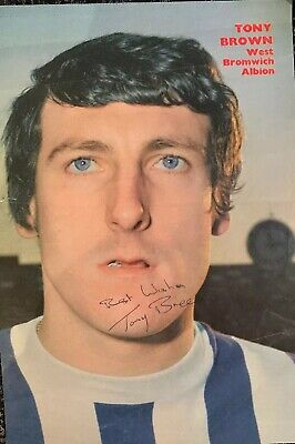 Signed 1960s Tony Brown West Bromwich Albion FC Football Autograph Poster