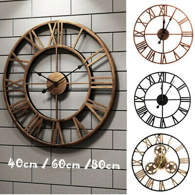 Extra Large Roman Wall Clock 40/60Cm/80Cm Numerals Open Face Home Garden Round