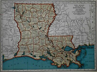 Vintage 1943 World War WWII Atlas Map of Louisiana & Kentucky & Tennessee L@@K!
