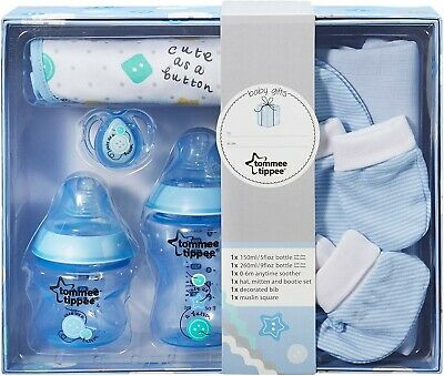 Tommee Tippee Baby Shower Bottle Starter Set Closer to Nature Gift Pack Kit Blue