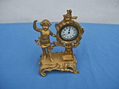 Antique New Haven Shelf Clock With  Putti   Cherub Figural Art Nouveau