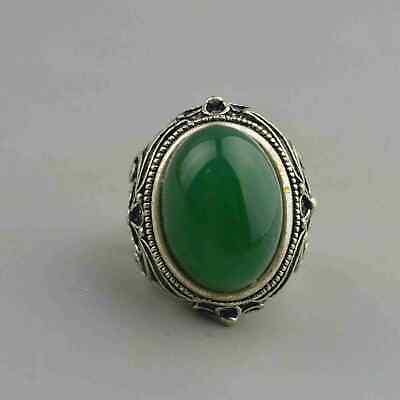 Collectable Handwork Old Miao Silver Carve Flower Rattan Inlay Jade Lucky Rings