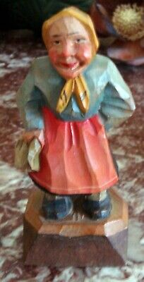 """5"""" Tall Hand Carved Wooden WOMAN PEASANT WITH RED DRESS & GREEN SHIRT"""
