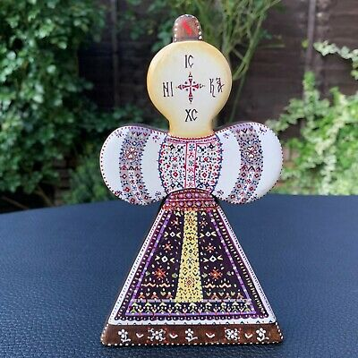Vintage Rare Russian Orthodox Hand Painted Enamelled Wood Icon Cross Sarafan