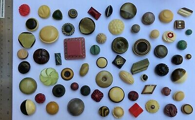 65 Vintage Plastic & Celluloid Hollow-Body Sewing Buttons