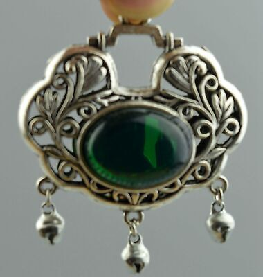 Colectable Handwork Miao Silver Carve Flower Rattan Inlay Agate Lucky Pendant