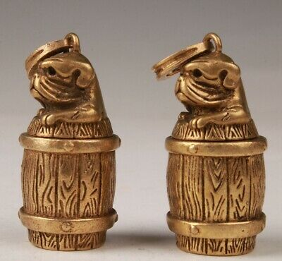 2 Vintage China Bronze Pendant Statue Dog Basket Mascot Collec Gift