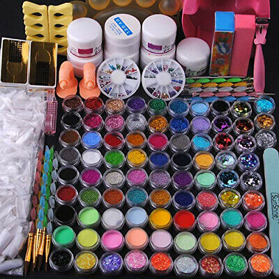 Fashion Gallery 84 Acrylic Glitter Powder Nail Art Brush Gel UV Sets Tips...