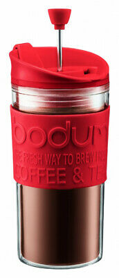BODUM Travel French Press Coffee Maker Set with Extra Lid, Vacuum, 0.35 Red