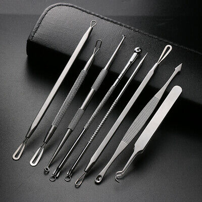 8X Blackhead Remover Tool Kit Cleaner Facial Acne Needle Pimple Spot Extractor