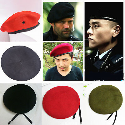 Mens Womens Army Beret Hat French Military Soldier Woolen Ski Cap Casual Winter