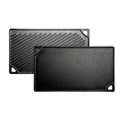 Reversible Cast Iron Grill Griddle for Stove Top Fits Over 2 Burners by Lodge