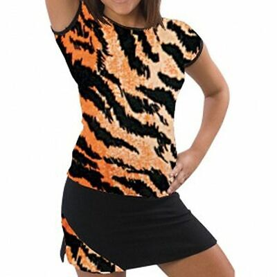 Pizzazz Girls Tiger Print Cap Sleeve Tee Cheer Dance Wear 2T-16