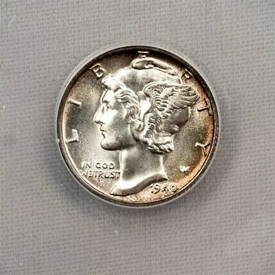 1940-D Mercury Dime - ANACS MS60 Details / Cleaned - Certified Silver 10c