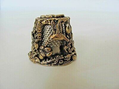 Nicholas Gish Gold Plated Pewter Carousel Hummingbird / Butterfly Thimble Signed