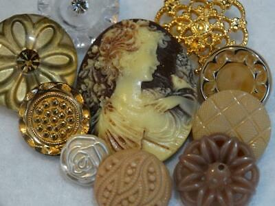 AMAZING BROWN GOLD VINTAGE & NEW BUTTONS Cameo Metal Rhinestone Glass Flower +