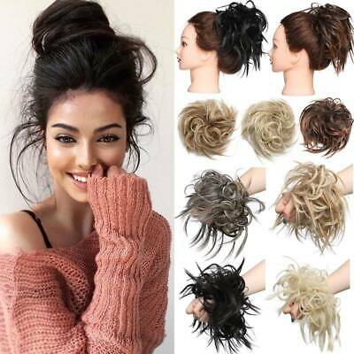 REAL Messy Bun Scrunchie Hair Extensions Wavy THICK Ponytail as Human Hair Piece