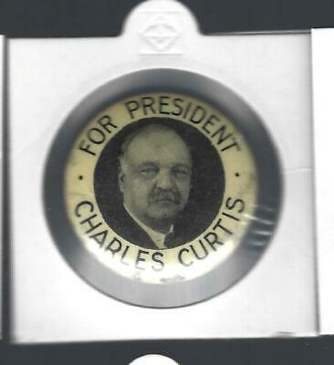 Vintage Charles Curtis For President Picture Campaign Button