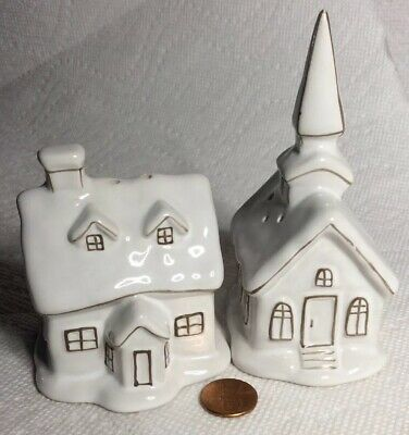 Vintage Hand Crafted Church & Rectory Ceramic Salt & Pepper Shakers