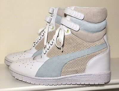PUMA CONTACT SKY Wedge Dark Light Gray Yellow Stripe High