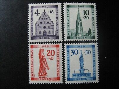 BADEN FRENCH OCCUPATION ZONE Mi. #38A-41A mint stamp set! CV $36.00