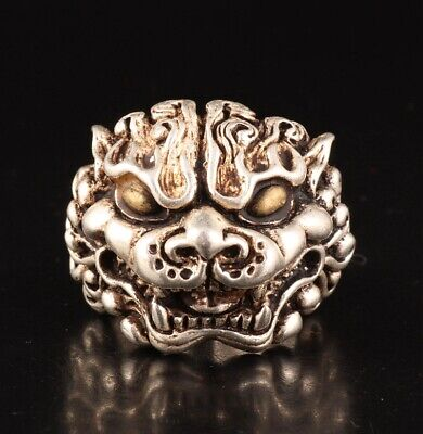Retro China Tibetan Silver Hand-Carved Dragon Head Ring Gift Old