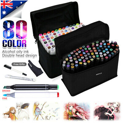 80+3 Markers Pen Set Colors Touch Oily Alcohol Dual Tips Art Fine Broad Copic