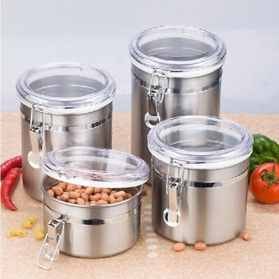 Stainless Steel Sealed Airtight Canister Coffee Tea Sugar Flour Container 4 Size
