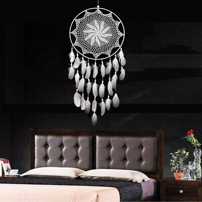 US Handmade Dream Catcher White Goose Feather Home Wall Hang Decor Ornament Gift