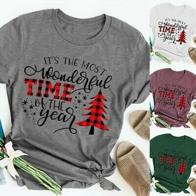 Happy Christmas Tee Top Women Funny Tree Printed Blouse T-shirt  Loose Plus Size