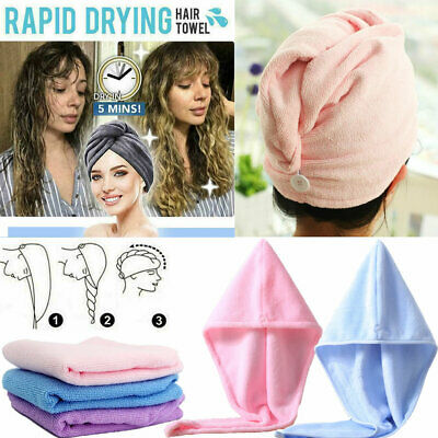 Rapid Fast Drying Hair Towel Wrap Turban Thick Absorbent Shower Hair Direr Caps