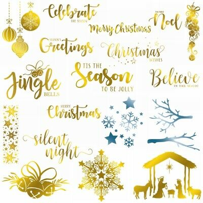 Christmas Greetings Expression Bell Hot Foil Plate Scrapbooking Stencil Craft