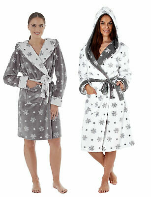 Ladies Snowflake Soft Fleece Hooded Gown Bath Robe Dressing Gown