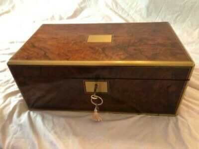 Antique Victorian Walnut Writing Slope + Secret Drawer + Key