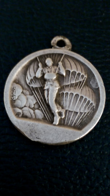 Antique French Religious  Paratrooper Silver Pendant  Medal Stamped By Charl