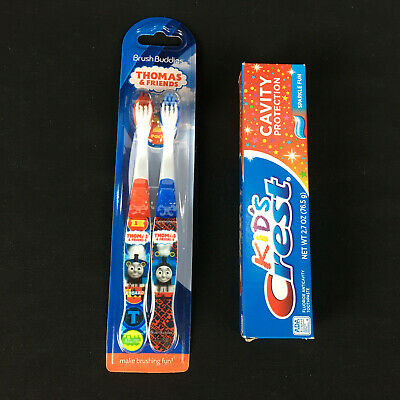 Thomas Train Friends Toothbrushes 2 pack Twin Kids Crest Toothpaste Tank Engine