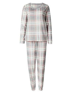 M&S Ladies Soft Fleece Winter Check Long Sleeve Pyjamas Pjs Size 6-26