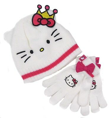 Hello Kitty Hat Gloves Set White And Pink 8-10 Years Only Ex Store LAST FEW SALE