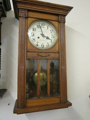 Antique Art Nouveau Oak Cased Wall Clock