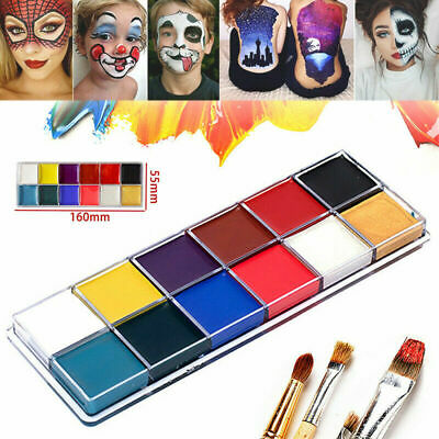 12 Colors Face Body Paint Oil Painting Art Make Up Tool Set Halloween Party Kit