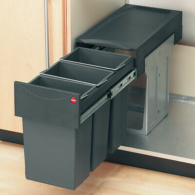 Large Pull Out Kitchen Waste Bin 64 Litres 400mm Units Hinged Door X2 Containers