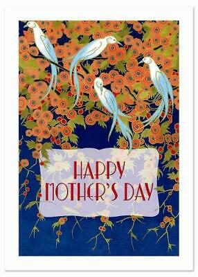Art Deco Birds and Flowers Mother's Day Greeting Card by Laughing Elephant (c...