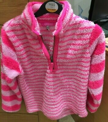 Joules Striped Pink Half Zip Top Age 7-8 Years Fluffy & Soft Feel High Neck