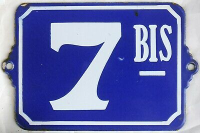 Large old blue French house number 7 BIS B door gate plate plaque enamel sign