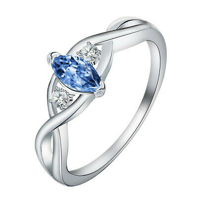 Simple Natural Beautiful Aquamarine Silver Wedding Jewelry Party Ring Size 10