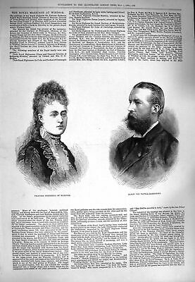 Old Antique Print 1880 Princess Frederica Hanover Baron Pawell-Rammingen 19th