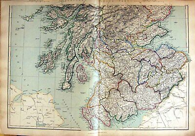 Original Old Antique Print 1872 Map Southern Scotland Arran Firth Forth Solway